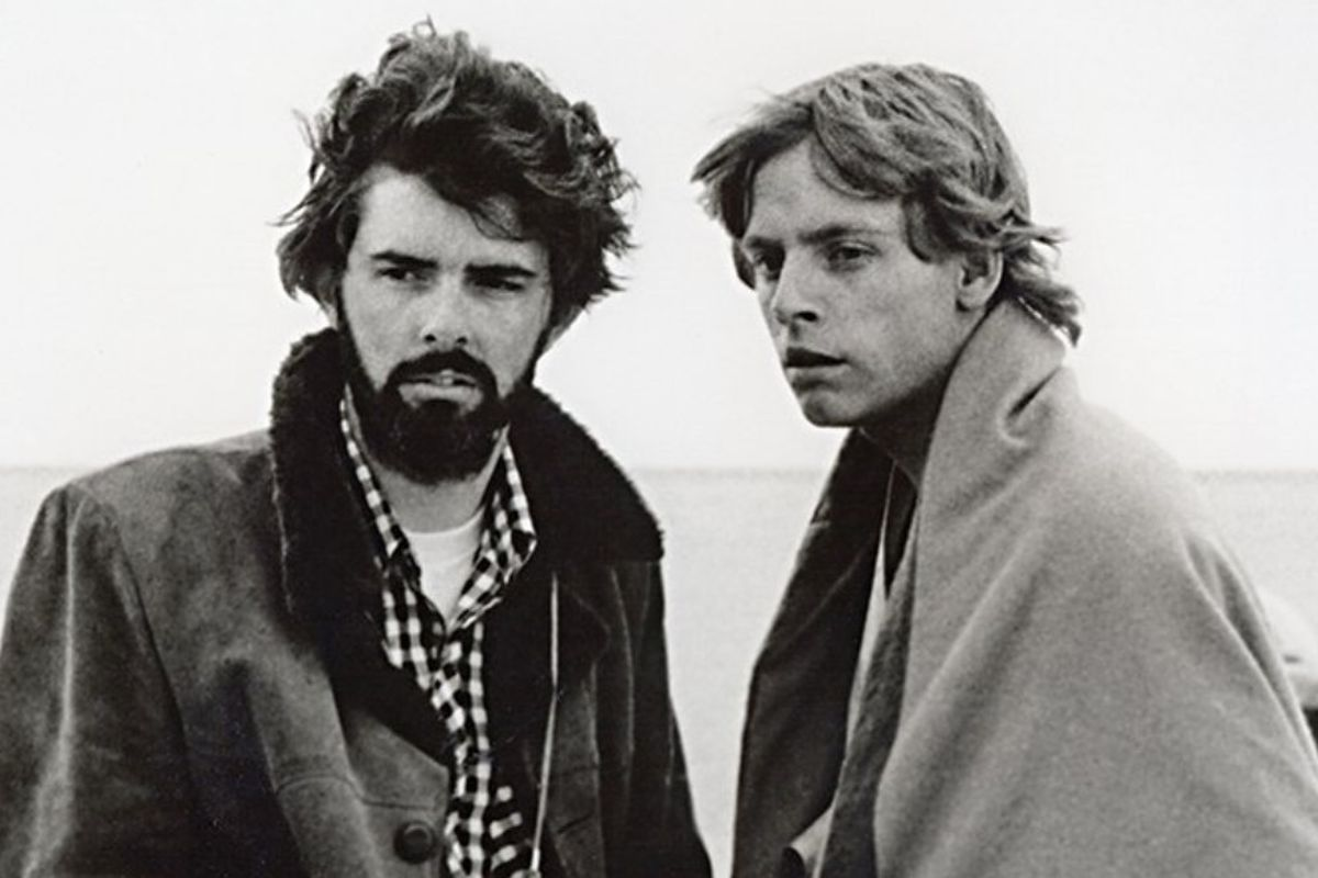 George Lucas & Mark Hamill SW B&W