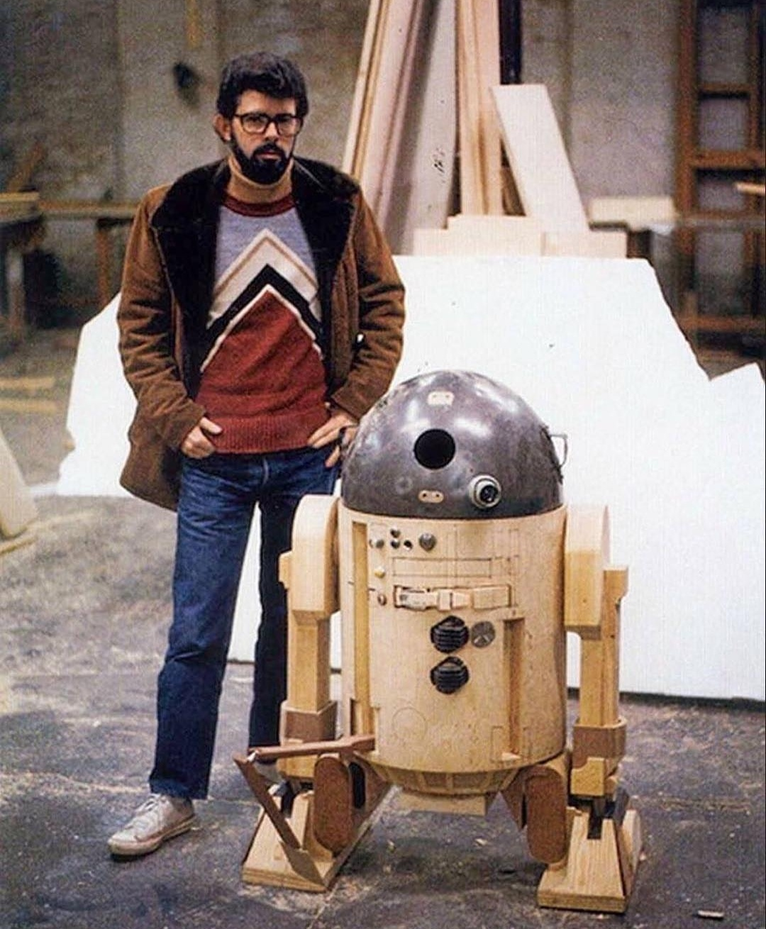 George Lucas with concept R2D2